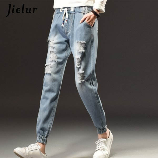 Spring Fashion Cool Ripped Jeans Female Plus Size S-5XL Loose Holes Elastic Waist Jeans Women Winter Harajuku Leisure Girl Pants S18101601