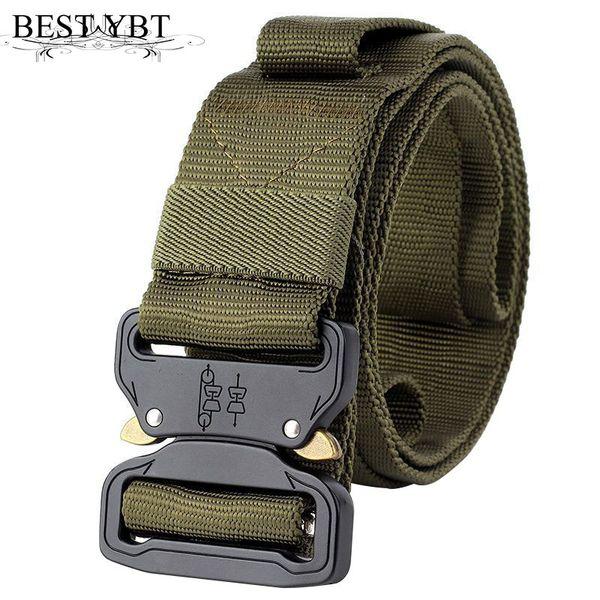 Meilleur YBT Unisexe Nylon ceinture 2018 nouvelle équipement militaire Blackhawk Alliage Insert tactique boucle de ceinture Ceinture Groove Cobras boucle hommes ceinture