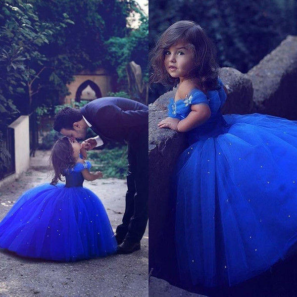 top popular Said Mhamad Royal Blue Princess Wedding Flower Girl Dresses Puffy Tutu Sparkly Crystals 2019 Toddler Little Girls Pageant Communion Dress 2021