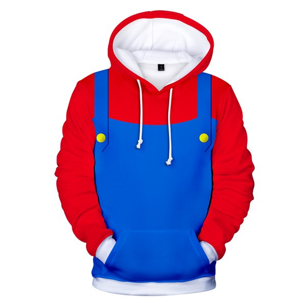 3D Mario Red Uncle Men/Women's Gothic Vintage Hoodies Couples Fake Two-Piece Harajuku Hip Hop Pullover Red Blue Top Coats 4XL