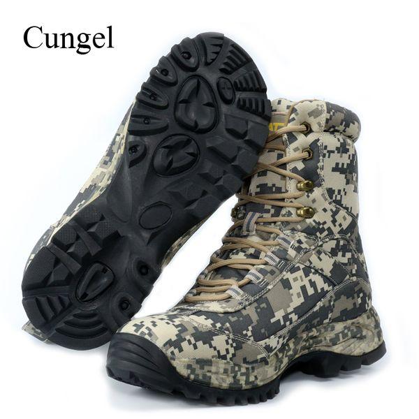 Compre Cungel Al Aire Libre Zapatos De Senderismo Camuflaje Zapatillas De Deporte De Los Hombres De Invierno Otoño De Nylon Resistente Al Agua Botas