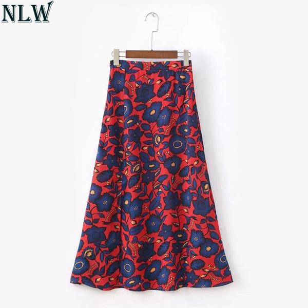 NLW Mujeres Boho Falda larga Maxi Chiffon Faldas de talle alto 2018 Falda estampada de verano Falda azul rojo Beach Party Wear Cintura alta