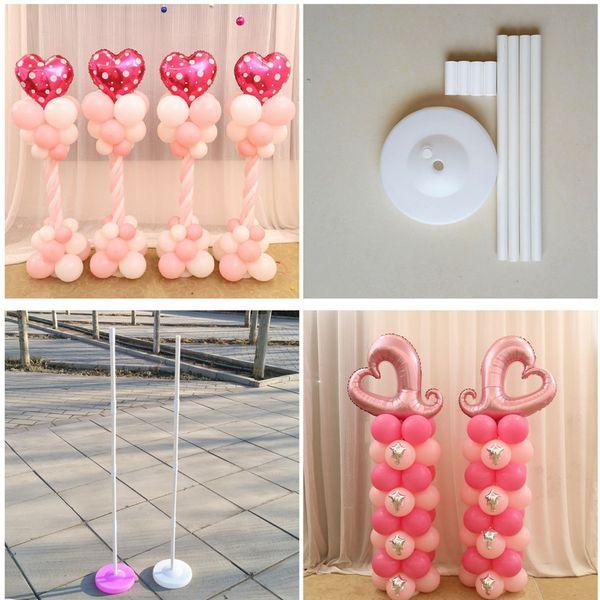 2 Set 150cm Balloon Column Base /Stick /Plastic Poles +15 Clips Balloon Arch Wedding Decoration Party Supplies Garden Decoration