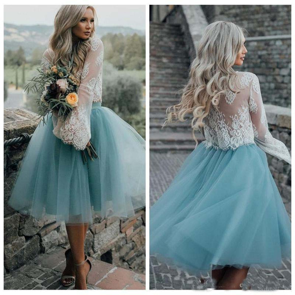 2018 Lace Top Long Sleeves Two Pieces Homecoming Dresses White Lace Top with Tutu Skirt Knee Length Prom Dress Cheap Party Gowns