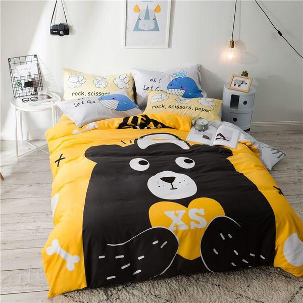 Schwarzbär drucken Cartoon-Stil Bettwäsche Set Baumwolle Stoff 3 oder 4 Stücke Twin Full Queen Size Bettbezug Flachwäsche Kissenbezug