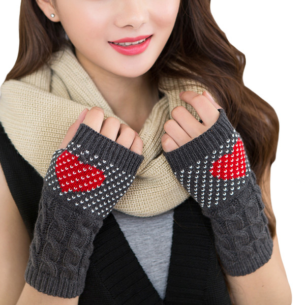 300PAIRS / LOT Winter Women Fingerless Gloves Fashion Heart Pattern Print Female Girls Hand Warmer Cute Mittens Gloves