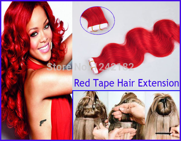 7A tape in human hair extensions 100g Red tape in remy india hair extensions 40pcs body wave skin weft tape hair extensions