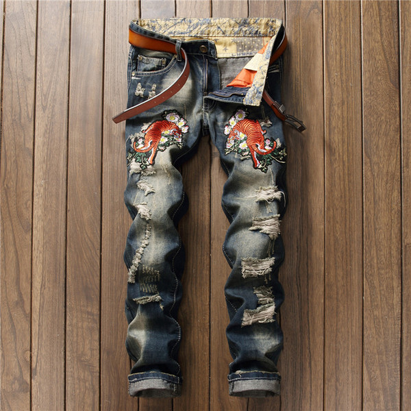 Retro Blue Ripped Jeans for Men Tiger In Flowers Embroidery Biker Jeans Straight Slim Men Pants Fashion Mens Clothing