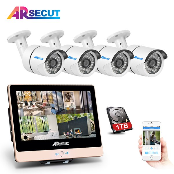 "New Arrival! 4CH Plug And Play 2.0MP POE NVR CCTV Kit+12""LCD&1080P HD Outdoor+Indoor IR POE Security Camera System+2TB HDD"