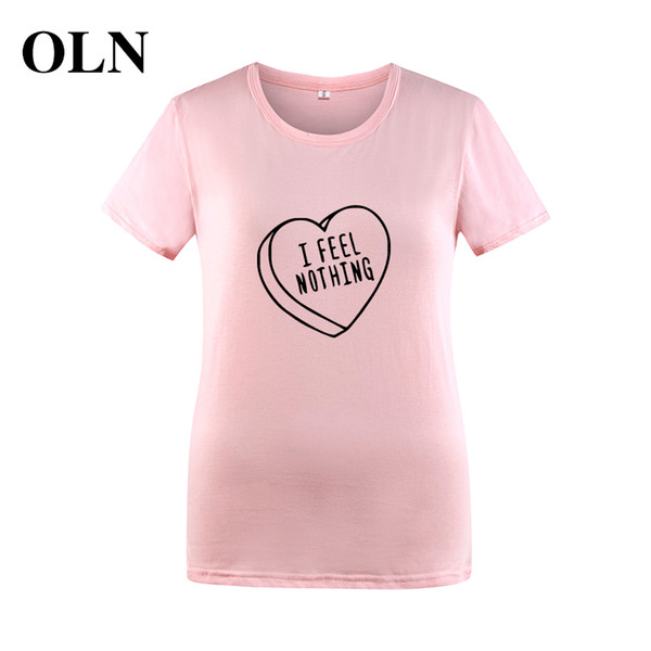 Women's Tee Oln 2018 I Feel Nothing Women T Shirt Summer Short Sleeve Heart Funny Tshirts Women Tops Casual Black White Blusas Mujer