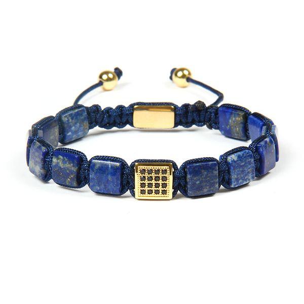 8x8mm Naturel Perles En Pierre De Lapis Lazuli Avec Noir Cz Carré Macramé Bracelet Bracelet Beau Cadeau Pour Hommes Cool En Gros 10pcs / lot
