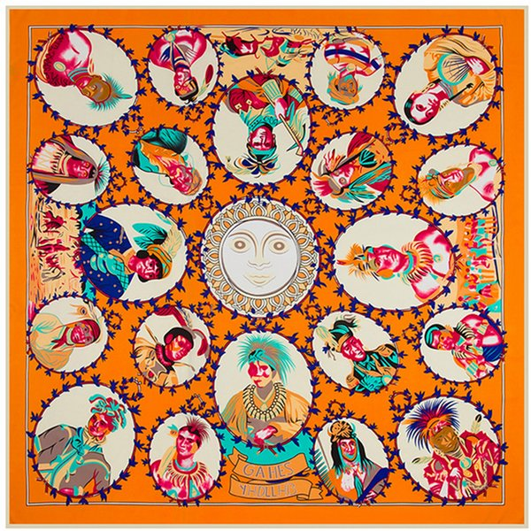 France Orange Print Silk Square Scarf for Women Handmade Luxury Design Indian Big Stoles Shawls Scarves Ethnic Large Twill Scarfs