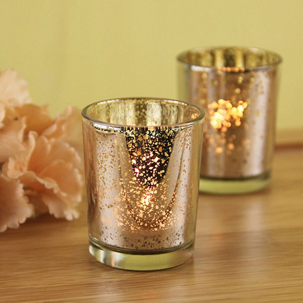 5.5*6.8cm Small Glass Cup Mosaic Candlestick Plated Silver Gold Green Candle Holder Party Wedding Birthday Bar Home Decoration TY7-272