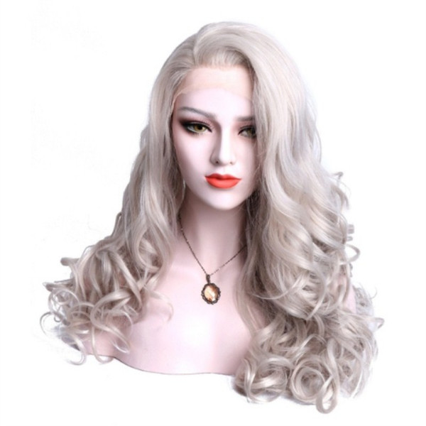 Hot Sexy Cosplay Natural Wave Grey Color Heat Resistant Synthetic Front Lace Wig Side Parting Long Wavy Glueless Fiber Hair For Drag Queen