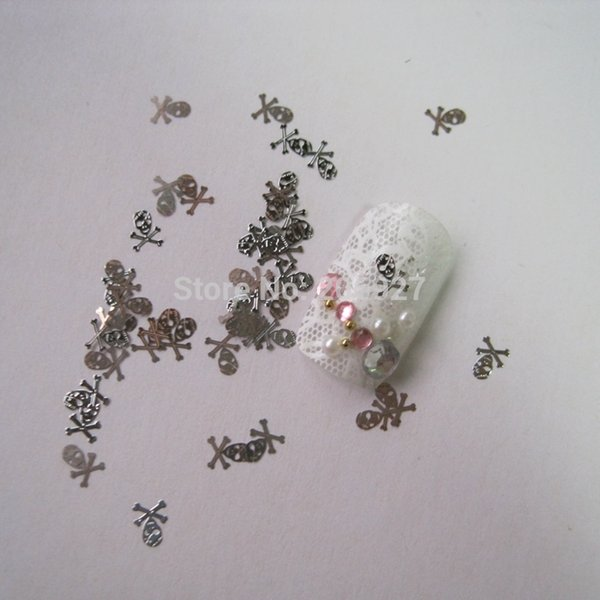 MS14-1 100pcs Silver Cute Skull Nail Art Metal Sticker Nail Art Decoration Non-adhesive Sticker
