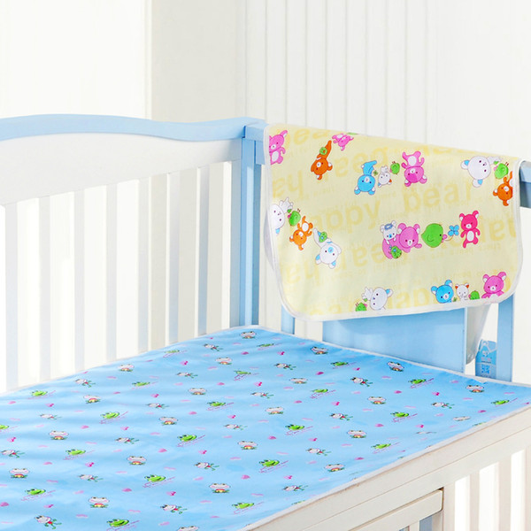 top popular Newborn Infants Diaper Changing Pad Urinal Pad For Infant Bed Waterproof Cotton Cloth Diaper Changing Mat For Crib Yellow Pink Blue 3Colors 2020