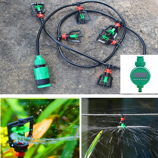 DIY Micro Drip Irrigation System Plant Self Watering Garden 360Degree Rotary Sprinkler Water Irrigation Kits With Timer BD02