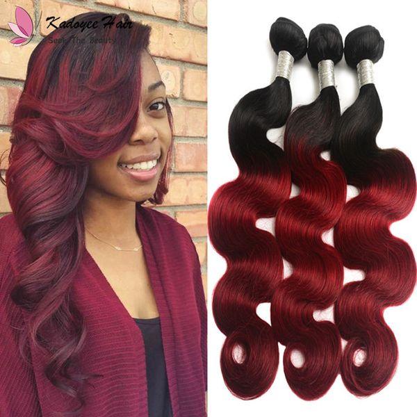 Ombre Two Tone Brazilian 1B Burgundy Human Hair Body Wave Weft #1B Bug Remy Hair Weaves 100g/Bundle for Black Women uk us
