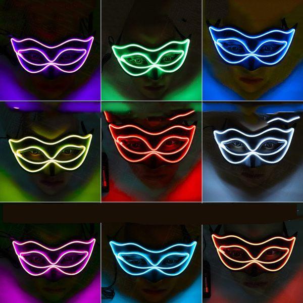 2020 Máscaras EL luz luminosa Fox para Halloween del fantasma de la media cara de la máscara de alambre Palstic Para la mascarada del partido de Cosplay de la decoración LED luces de adornos