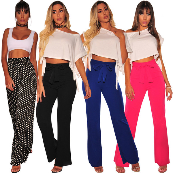 2018 Women Casual Loose Wide Leg Pants Womens Elegant Fashion Preppy Style Trousers Female Pure Color Females New Pants