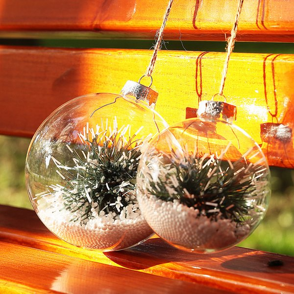 Dia8cm x 8pcs Clear Glass balls fillable with tree snow decor Christmas Xmas ornament balls wedding party event supplier free