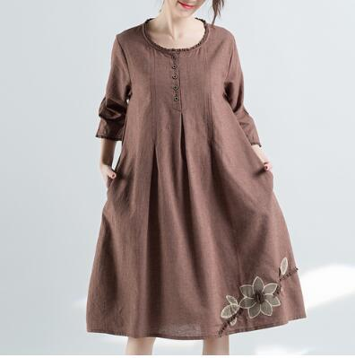 2018 Spring And Autumn Cotton And Linen Vintage O-neck Women Dresses Loose Mori Girl Women's Clothing Striped Lace Embroidery