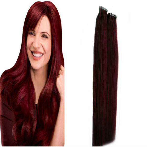 """10-26"""" 99j Tape Hair Extensions 40pcs Skin Weft Hair Extensions Straight No chemical treatment Seamless Remy tape in human hair extensions"""
