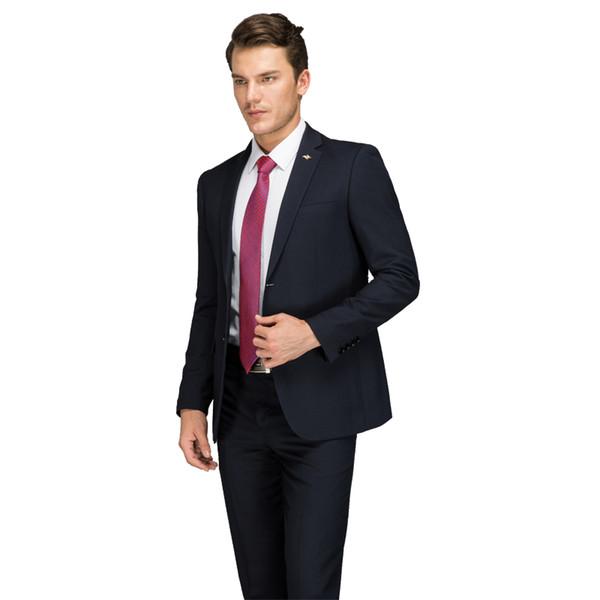 Formal Business Suit Blue 2017 Latest Coat Pant Designer Work Dress Costume Male Black Men's Formal Wear Suits Set With Pants