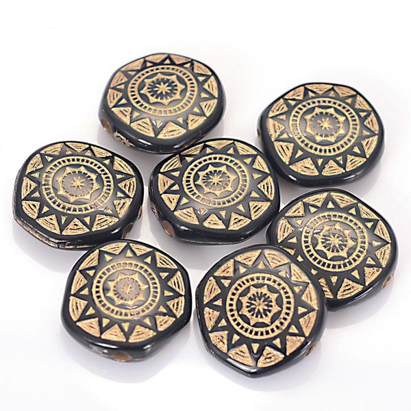 100 Pcs 6x18mm Antique Acrylic Flat Round Shape Sun Chakra Plastic Antique Design Beads For Jewelry Making Accessories