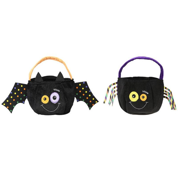 Halloween Bat Spider Velvet Candy Bag Kids Party Gifts Container Holiday Festive Party Candy Bag Party Supplies free shipping hot sale new