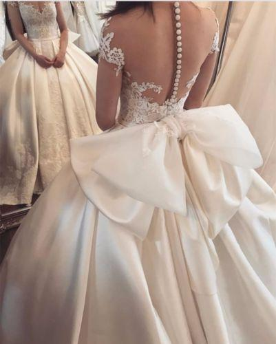 Abiti da sposa sexy pizzo abito da sera 2019 pizzo collo applique avorio in tulle manica cap plus size corsetto abiti da sposa con bottone coperto