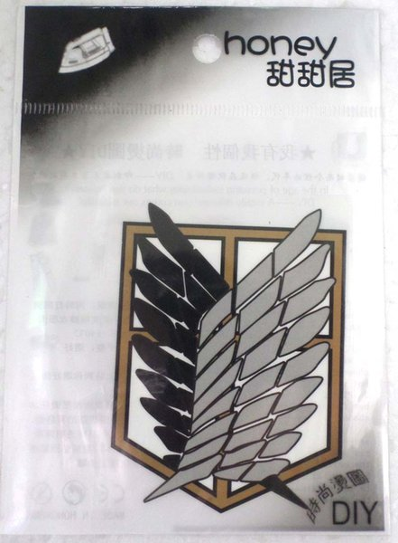new arrival !100pcs Fashion Attack on Titan Logo Iron-on Sticker DIY Accessory Patch Transfer T-Shirt Sticker Phone accessory