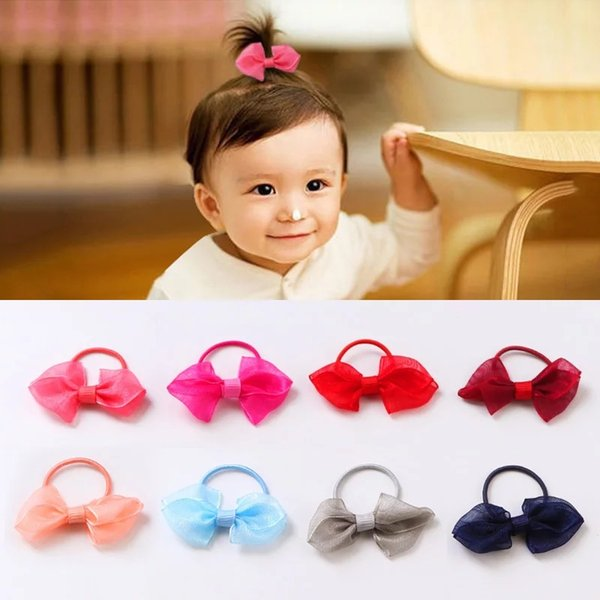 10 Pcs (5 Pairs) Cute Adorable Silk Ribbon Small Bow Elastic Hair ties for toddlers' Kids Hair ropes Accessories