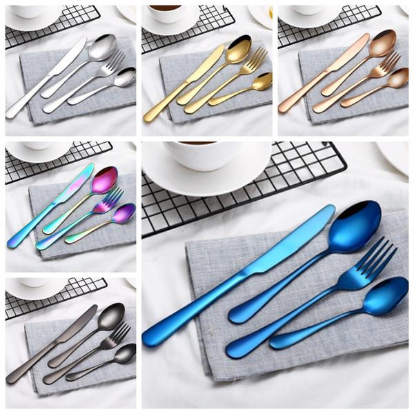 Столовые приборы Столовые приборы наборы из нержавеющей стали ложка вилка нож чайная ложка красочная посуда Посуда комплект 4 шт/комплект кухня инструменты YW1371