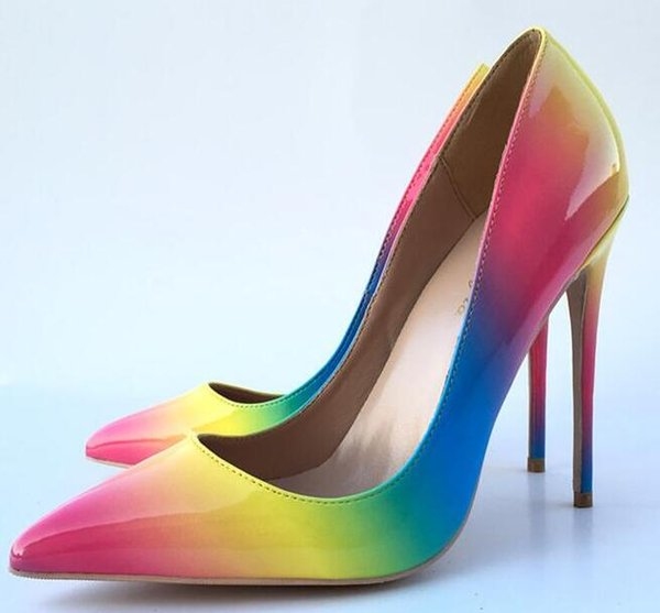 Womens Fashion Slip on Dress Pumps Colorful Rainbow Print Pointy Toe Pencil High Heel Shoes Big size