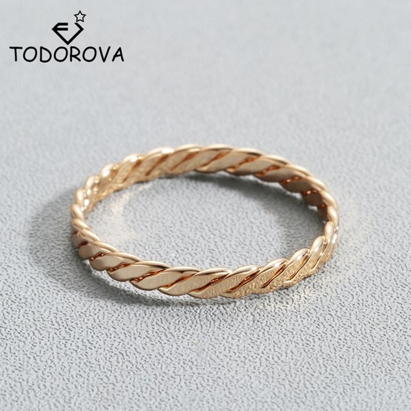 Todorova Round Rings for Women Minimalist Jewelry Thin Gold-color Twist Rope Stacking Wedding Rings bijoux