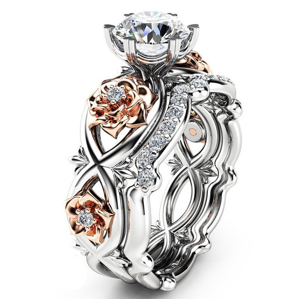 Silver Plated 2pcs Set Crystal Wedding Rings Lovers Gifts Rhinestone Rings for Women Rose Flower Ring SJ