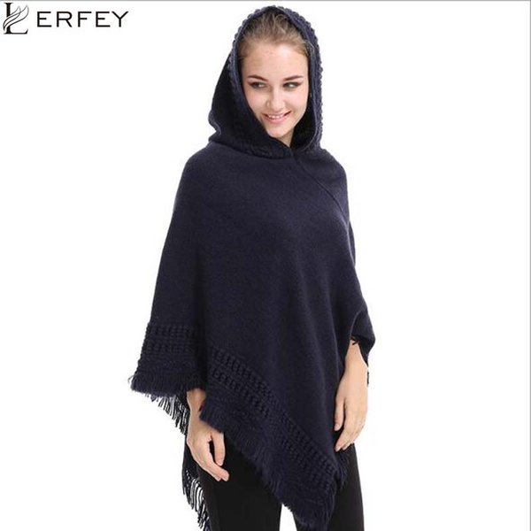 LERFEY Winter Women Oversized Sweater Ponchos and Capes Knitted Shawls Casual Warm Autumn Tassel Shawl Pull Pullovers Tops