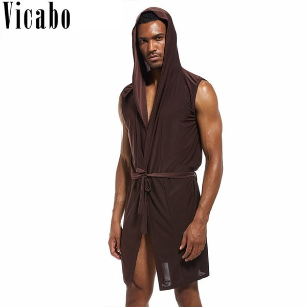 Vicabo Mens Summer Sexy Sleeveless Hooded Bathrobe Bata Hombre Solid V-Neck Silk Sleepwear Pajamas Male Dressing Gown Bath Robe