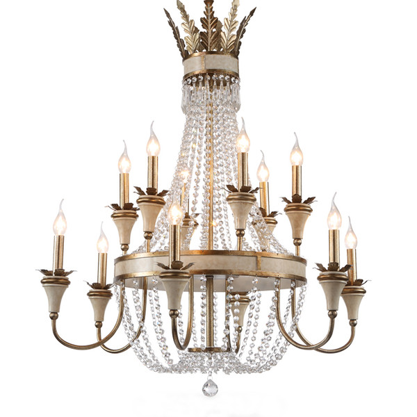 American Country Creative Chandeliers French Retro Branch Wrought Iron  Garden Living Room Dining Room Bedroom Crystal Chandelier Small Chandeliers  ...