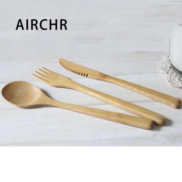 Airchr New Arrival Bamboo Tableware 30pcs (10 Set )100 %Natural Bamboo Spoon Fork Knife Set Wooden Dinnerware