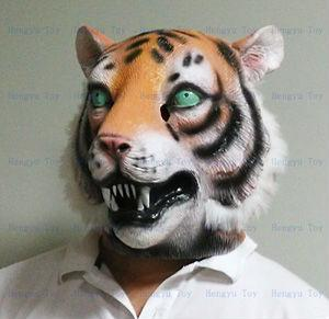 Tiger Mask High Quality Halloween Party Latex Realistic Tiger Mask Full Head For Adult ( Animal With Plush )