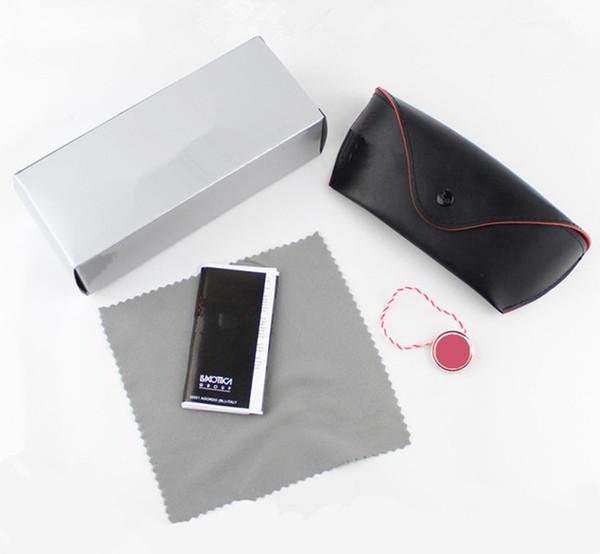 best selling MOQ=20PCS Black leather brand sunglasses case silver carton glasses box cloth manual Eyewear Accessories free shipping