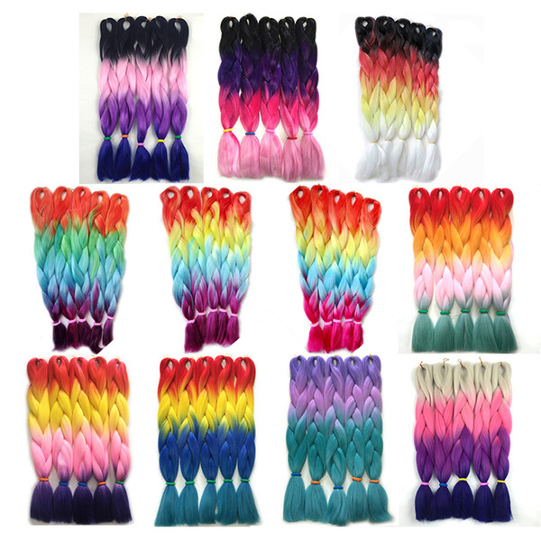 best selling Kanekalon Four Tone Braiding Hair Extensions Purple Pink Red Blue Blonde Ombre Jumbo Crochet Twist Braids Hair 24 inch 100g