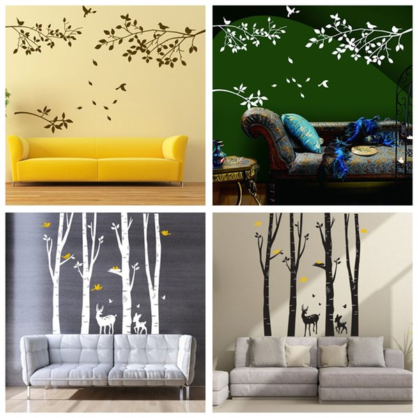 4 Designs Part of Forest Wall Stickers Wallpaper Paper Peint 3d Home Decor Bathroom Kitchen Accessories Household Suppllies
