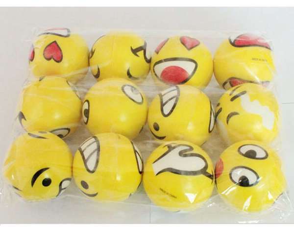 6.3cm QQ Emoji Smiling face ball Stress Squeeze Ball Wrist Finger Training Balls Soft Sponge PU Ball Children Kids Toys 24pcs