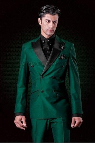 Nouveau design classique Smooth Green Green Tuxedos Groomsmen Peak Lapel Meilleur Costume Homme Mariage Blazer Suit