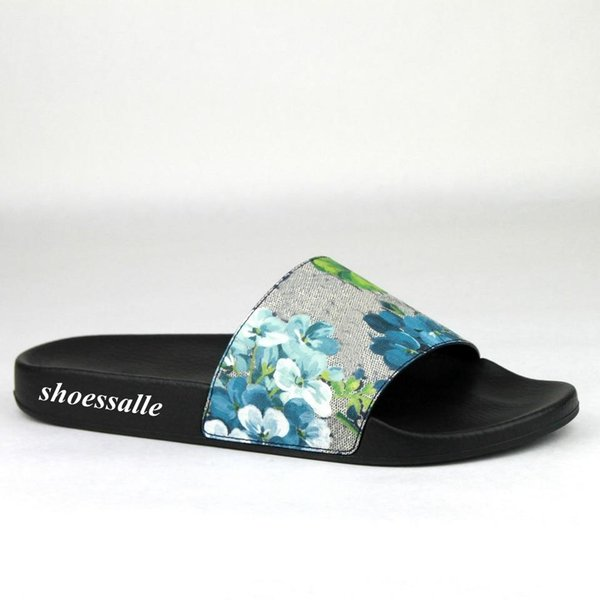 2018 mens and womens blue flower blooms slide sandals flip flops with rubber sole size euro 35-45