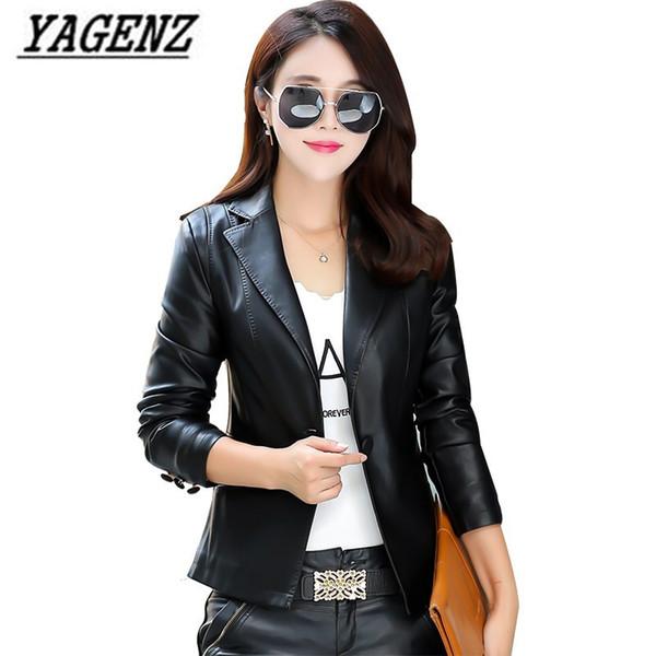 timeless design f7ee1 a630a Acquista Giacca In Pelle PU Donna Cappotto Corto Blazer Cappotto Slim  Single Button Ladies Capispalla Nero Moto Faux Leather Jacket Cool Coat A  $65.97 ...