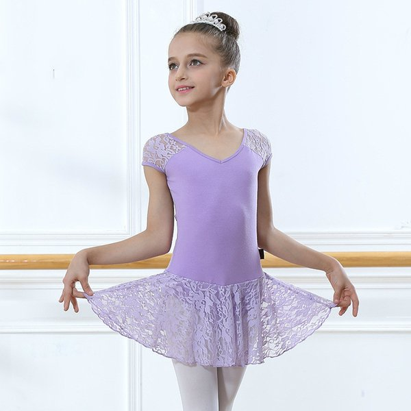 Canottiera da ginnastica in spandex a maniche corte per ragazze Lace Tutina in maglie di danza Body per bambini Bambini Ballet Dancewear Dress